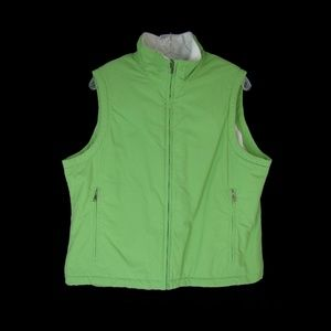 L.L.Bean Green Fleece Lined Zippered Vest - Large